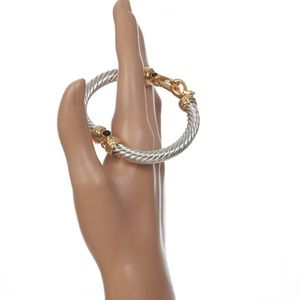 Jewelry - Silver Plated Quality Bracelet Gold Black Trim New